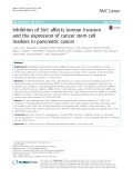 Inhibition of Six1 affects tumour invasion and the expression of cancer stem cell markers in pancreatic cancer