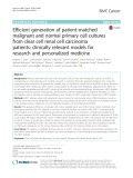 Efficient generation of patient-matched malignant and normal primary cell cultures from clear cell renal cell carcinoma patients: Clinically relevant models for research and personalized medicine