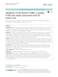 Validation of the flemish CARES, a quality of life and needs assessment tool for cancer care