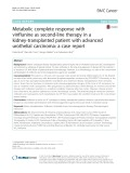 Metabolic complete response with vinflunine as second-line therapy in a kidney-transplanted patient with advanced urothelial carcinoma: A case report