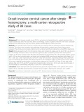 Occult invasive cervical cancer after simple hysterectomy: A multi-center retrospective study of 89 cases