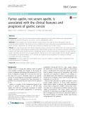 Tumor apelin, not serum apelin, is associated with the clinical features and prognosis of gastric cancer