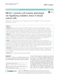 MICAL1 controls cell invasive phenotype via regulating oxidative stress in breast cancer cells