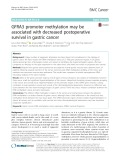 GFRA3 promoter methylation may be associated with decreased postoperative survival in gastric cancer