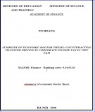 Summary of Economic Doctor thesis: Counteracting transfer pricing in corporate income tax in Viet Nam