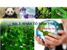 Bài giảng Nhân tố sinh thái – Lê Thị Thái Hà