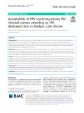 Acceptability of HPV screening among HIVinfected women attending an HIVdedicated clinic in Abidjan, Côte d'Ivoire