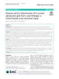 Anemia and its determinant of in-school adolescent girls from rural Ethiopia: A school based cross-sectional study