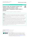 Quality of life, psychological distress and violence among women in close relationships: A population-based study in Finland