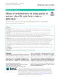 Effects of endometriosis on sleep quality of women: Does life style factor make a difference?