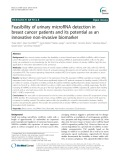 Feasibility of urinary microRNA detection in breast cancer patients and its potential as an innovative non-invasive biomarker
