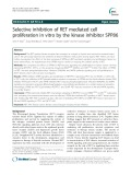 Selective inhibition of RET mediated cell proliferation in vitro by the kinase inhibitor SPP86