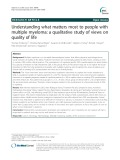 Understanding what matters most to people with multiple myeloma: A qualitative study of views on quality of life
