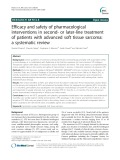 Efficacy and safety of pharmacological interventions in second- or later-line treatment of patients with advanced soft tissue sarcoma: A systematic review