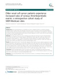 Older renal cell cancer patients experience increased rates of venous thromboembolic events: A retrospective cohort study of SEER-Medicare data