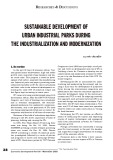 Sustainable development of urban industrial parks during the industrialization and modernization