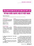 Tổng quan và đánh giá các quy định của pháp luật về đại biểu Quốc hội ở Việt Nam