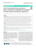 Cost-Constrained feature selection in binary classification: Adaptations for greedy forward selection and genetic algorithms
