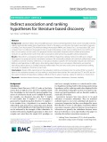 Indirect association and ranking hypotheses for literature based discovery