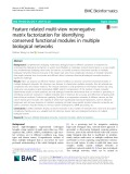 Feature related multi-view nonnegative matrix factorization for identifying conserved functional modules in multiple biological networks