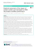 Empirical assessment of the impact of sample number and read depth on RNASeq analysis workflow performance