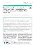 Data and knowledge management in translational research: Implementation of the eTRIKS platform for the IMI OncoTrack consortium