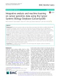 Integrative analysis and machine learning on cancer genomics data using the Cancer Systems Biology Database (CancerSysDB)