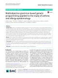 Multiobjective grammar-based genetic programming applied to the study of asthma and allergy epidemiology