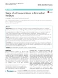 Usage of cell nomenclature in biomedical literature