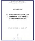 Luận án Tiến sĩ Lịch sử: Quá trình thực hiện chính sách an sinh xã hội ở tỉnh Điện Biên từ năm 2004 đến năm 2014