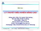 Bài giảng Cơ sở tự động nâng cao: Chương 5 - PGS. TS. Huỳnh Thái Hoàng