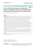 A new method to measure complexity in binary or weighted networks and applications to functional connectivity in the human brain