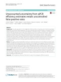 Unaccounted uncertainty from qPCR efficiency estimates entails uncontrolled false positive rates