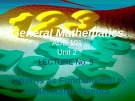 Lecture General mathematics: Lecture 9 - Ms. Fehmida Haroon