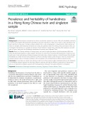 Prevalence and heritability of handedness in a Hong Kong Chinese twin and singleton sample