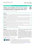 Validity and reliability of the Greek version of Implementation Leadership Scale (ILS)