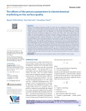 The effects of the process parameters in electrochemical machining on the surface quality