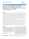 BioCode: Two biologically compatible Algorithms for embedding data in non-coding and coding regions of DNA