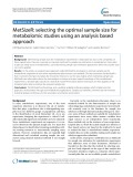 MetSizeR: Selecting the optimal sample size for metabolomic studies using an analysis based approach