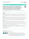 Patient-reported outcome after patientspecific unicondylar knee arthroplasty for unicompartmental knee osteoarthritis