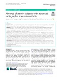 Absence of pain in subjects with advanced radiographic knee osteoarthritis