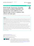 World Health Organisation Disability Assessment Schedule (WHODAS 2.0): Development and validation of the Nigerian Igbo version in patients with chronic low back pain