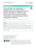 Porous tantalum rod implantation is associated with low survival rates in patients with type C2 osteonecrosis of the femoral head but has no effect on the clinical outcome of conversion total hip arthroplasty: A retrospective study with an average 8-year follow-up