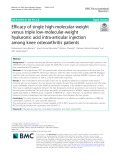 Efficacy of single high-molecular-weight versus triple low-molecular-weight hyaluronic acid intra-articular injection among knee osteoarthritis patients