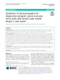 Usefulness of ultrasonography for diagnosing iatrogenic spinal accessory nerve palsy after lymph node needle biopsy: A case report