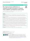 The impact of injury definitions on measures of injury occurrence in classical music students: A prospective cohort study
