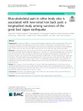 Musculoskeletal pain in other body sites is associated with new-onset low back pain: A longitudinal study among survivors of the great East Japan earthquake