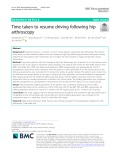 Time taken to resume driving following hip arthroscopy