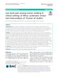 Low back pain among nurses working in clinical settings of Africa: Systematic review and meta-analysis of 19 years of studies