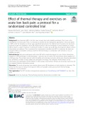 Effect of thermal therapy and exercises on acute low back pain: A protocol for a randomized controlled trial